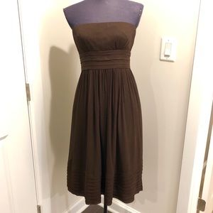 J. Crew Juliet Brown Silk Strapless Dress - 4